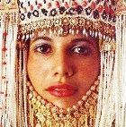 Marriage: young woman in bridal costume