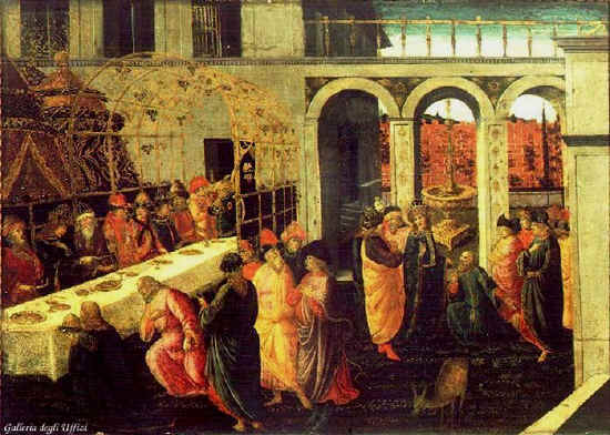 Esther paintings: Esther's banquet, by Sellaio