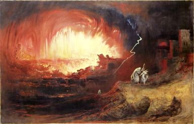 Worst sins in the Bible: homosexuality. Lot and his family flee from the destruction of Sodom and Gomorrah