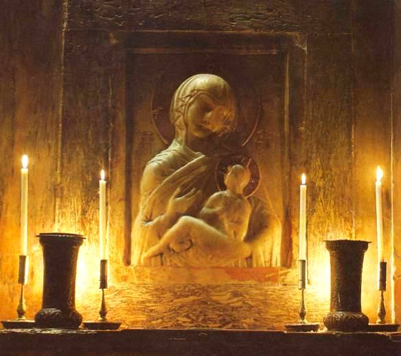 Mary of Nazareth. Statue of Mary and the child Jesus, St. Mark's Venice, Hodegetria