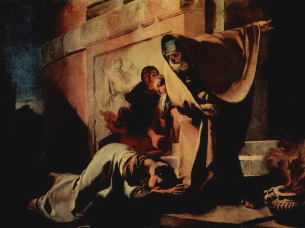 Paintings of Hagar & Sarah: 'Expulsion of Hagar', Giovanni Battista Tiepolo, 1719