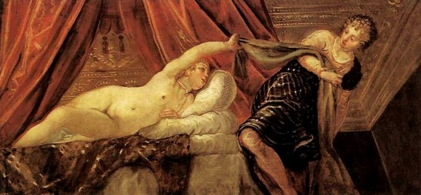 Bible paintings: Voluptuous nude woman by Tintoretto, painted in 1555: Joseph and Potiphar's Wife