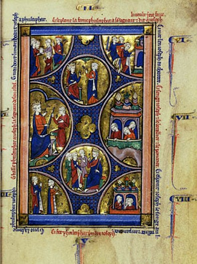 Bible paintings: Unknown French Master,richly colored manuscript page from the Wenceslaus Psalter