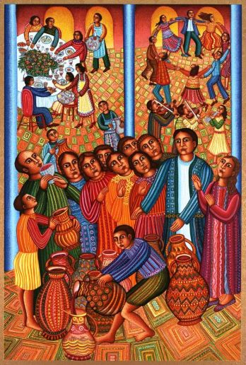 Jesus changes water into wine at the wedding feast at Cana