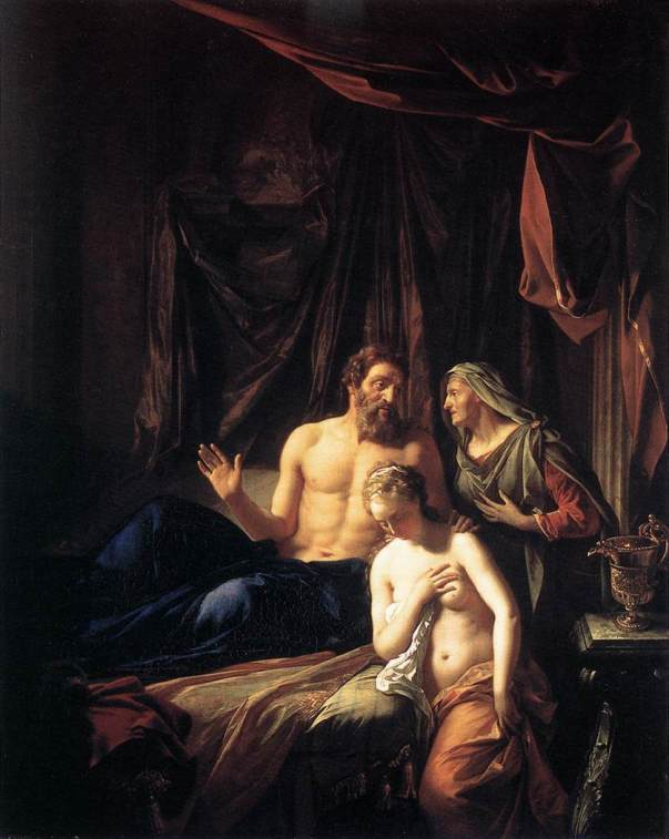 Paintings of Sarah, Hagar and Abraham: 'Sarah presenting Hagar to Abraham', Adriaen van der Werff, 1699