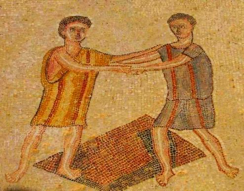 Mosaic floor showing two boys wrestling; their clothing is striped and probably home-spun