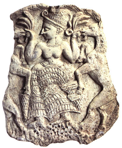 Worst sins in the Bible: worshipping false gods. Ancient carving of a fertility goddess with goats