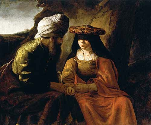 BIBLE PAINTINGS: TAMAR: School of Rembrandt, Judah and Tamar