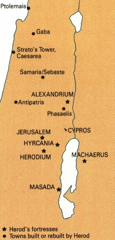 Map showing location of Masada in southern Judea