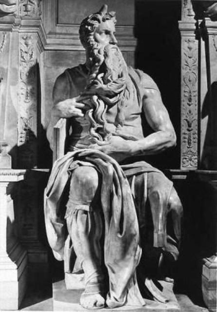 Moses: Full statue of Moses receiving the tablets of the Law, Michelangelo