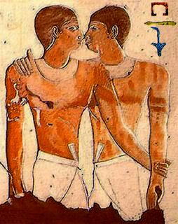 Worst sins in the Bible: homosexuality. Ancient Egyptian wall painting showing two men embracing