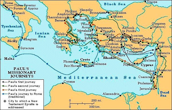 Bible Heroes: Map showing the routes of Paul's missionary journeys