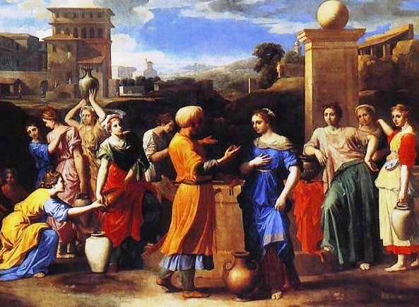 Isaac & Rebecca Paintings, Eliezer and Rebecca at the Well, Nicolas Poussin