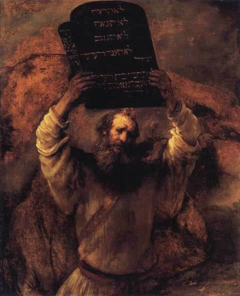 Paintings of Moses: Moses smashing the Tablets of the Law, Rembrandt van Rijn