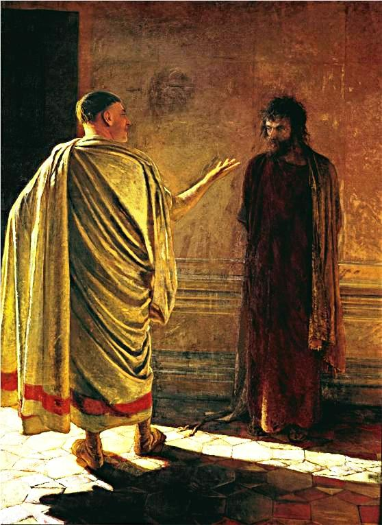 Pilate asks Jesus 'What is truth?' Painting by the Russian artist Nicholas Ge (Gai)