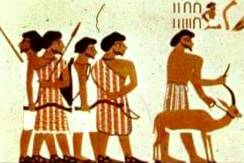 Travellers, possibly Hebrews, from Egyptian mural, Beni-Hasan