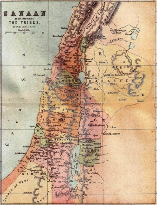 Map of ancient Canaan. Note the territory of the Tribe of Benjamin and Jericho north of the Dead Sea