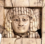 Ivory carving of the Woman at the Window, from Nimrud