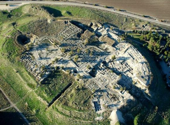 The circular altar at Megiddo was in the far right quarter of the city, in a separate temple complex