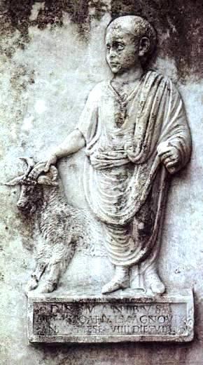 Roman boy leads a sacrificial goat. Ostia
