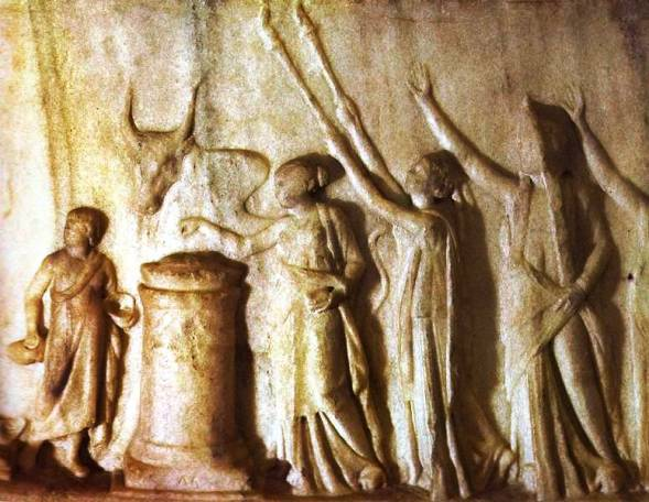 Sacrificial ceremony on a Roman bas-relief