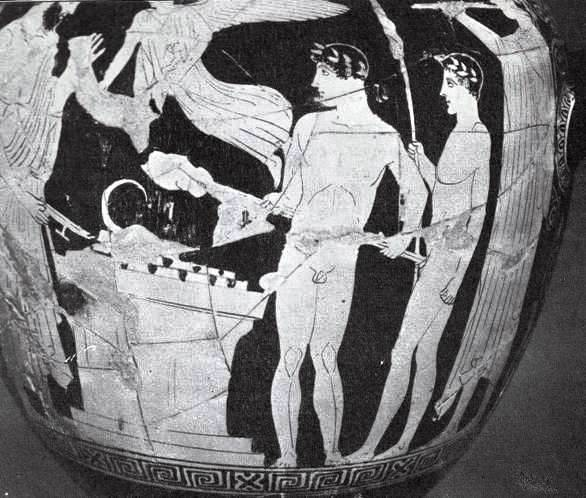 Two youths make a burnt offering to the gods. Greek vase