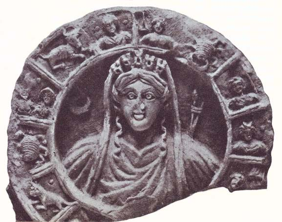 The relief of Tyche, surrounded by the Zodiac panel, from the Nabatean Khirbet-al-Tannur, 1st century