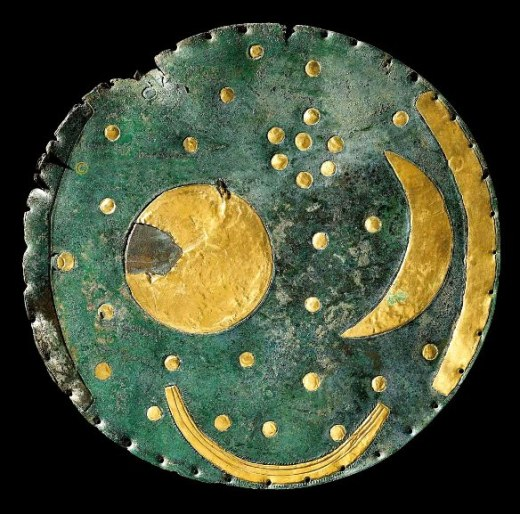 The Nebra disk, constructed about 3,600 years ago. It shows a sun or full moon, a lunar crescent,