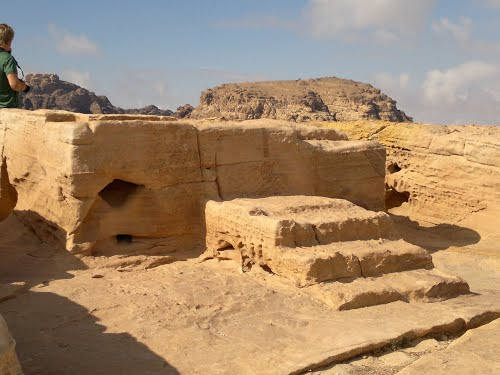 The ruins of a simple 'high place' at Petra, where ordinary people might offer sacrifice.