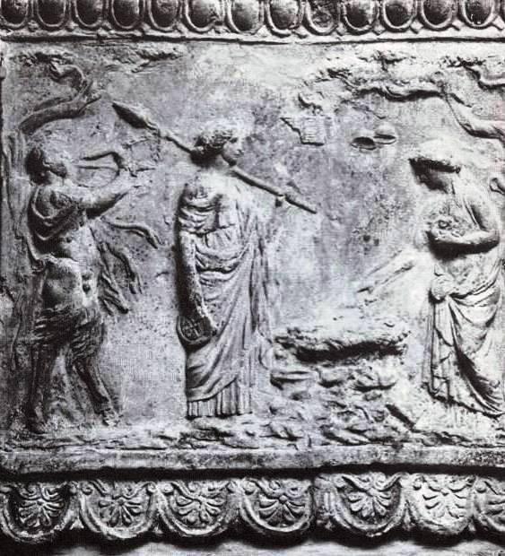 Rural scene of sacrifice on a Roman terracotta plaque.