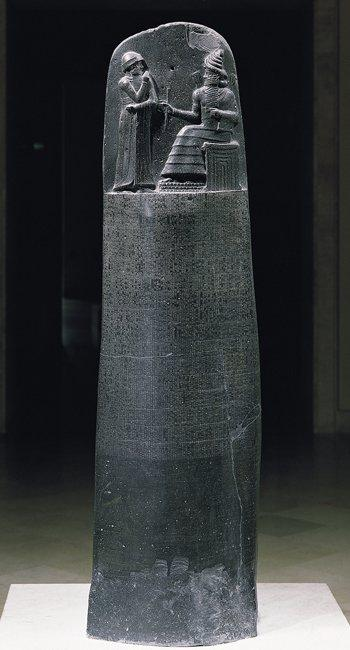 The Stele of Hammurabi was made of polished black diorite in circa 1800BC in Babylon.