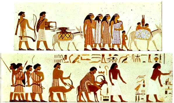 Cartoon of Middle Eastern travellers from the tomb at Beni Hasan, Egypt