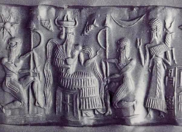 Impression from a clay seal showing the god Enki,from whom rivers of water flow