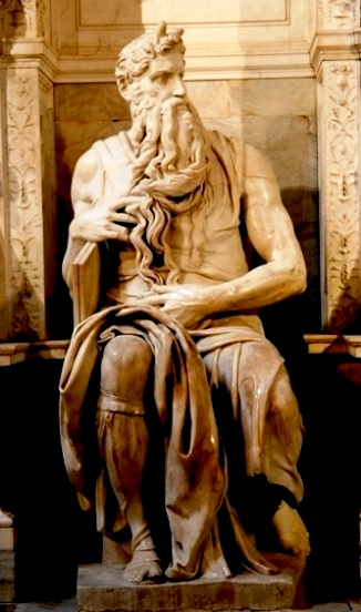 Moses, marble statue by Michelangelo in San Pietro in Vinculi.