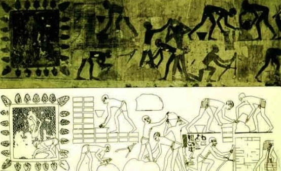 Wall relief showing Semitic laborers in Egypt making bricks with clay and straw (15th Century BC),