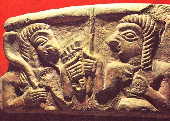 The Stele of Vultures. See the object held in the right hand of the warrior