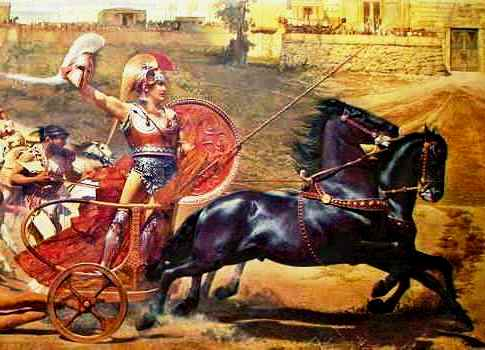 Painting of Achilles, with the body of Hector in tow, drives his chariot triumphantly around the walls of Troy