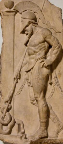 warrior wearing helmet and cuirass