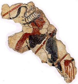 Tasselled boars' tusk helmet on a fresco dated around 1600 BC from Thera island