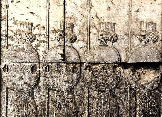 Persian soldiers with 'figure-of-eight' shields, from the walls of Persepolis