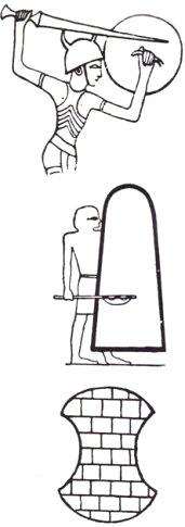 Three shields: round 'Sea People' shield; long Egyptian shield; Hittite shield
